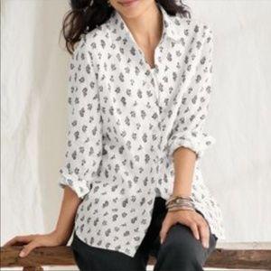 J. Jill Love Linen White Button Up Floral Top